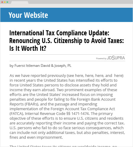 Your website FATCA